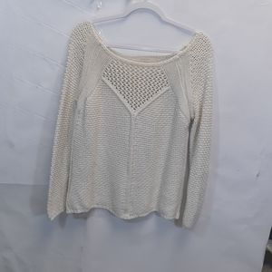 White ZARAKNIT open knit sweater